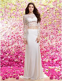Homecoming Lan Ting Sheath/Column Wedding Dress - Ivory Sweep/Brush Train Jewel Lace / Knit