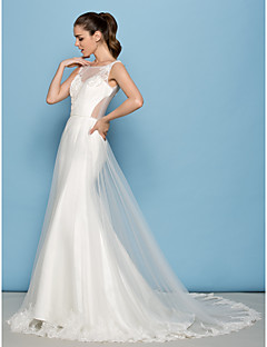 Lan Ting A-line Wedding Dress - Ivory Court Train Scoop Tulle