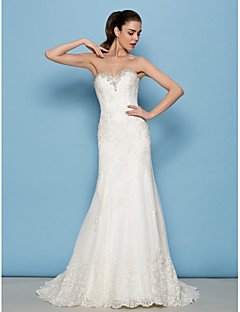 Lanting Bride Lanting Sheath/Column Wedding Dress - Ivory Sweep/Brush Train Sweetheart Lace
