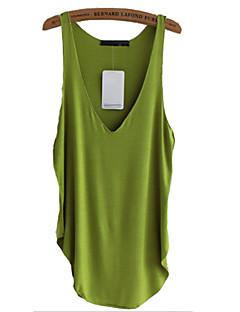 Damen Solide Einfach Lässig/Alltäglich Tank Tops Sommer Ärmellos Blau / Grün / Orange Polyester Mittel