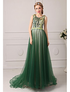 Formal Evening Dress Plus Size / Petite A-line Jewel Court Train Tulle with Appliques / Pearl Detailing