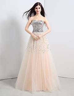 Formal Evening Dress A-line Strapless Floor-length Tulle / Sequined