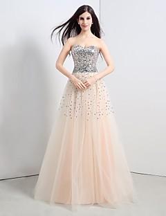 저녁 정장파티 드레스 A라인 바닥 길이 스트랩 없음 명주그물/반짝이