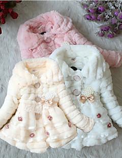Dívka je Jednobarevné Zima / Podzim Šaty Bavlna / Spandex / Směs vlny Růžová / Bílá / Béžová