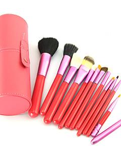 12PCS Pink Cosmetic Set Eyeshadow Wood Brush Blusher Pink Holder Make Up Brushes Estojo De Maquiagem Pinceis