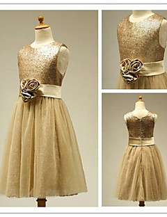 Three Flowers A-line Princess Jewel Tulle Flower Girl Dress