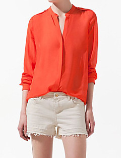 Women's Casual/Daily Simple Summer Shirt,Solid V Neck Long Sleeve Blue / Orange Thin