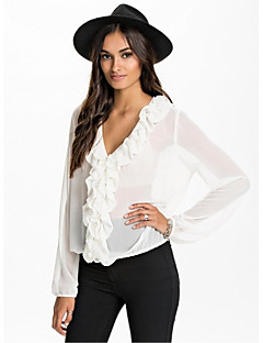 Women's Casual/Daily Simple Summer Blouse,Solid Long Sleeve White Thin