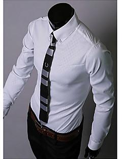 Masculino Camisa Casual / Escritório / Formal Cor Solida Manga Comprida Acrílico / Poliéster / LycraPreto / Azul / Marrom / Dourado /