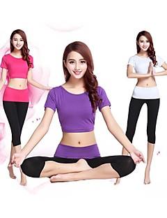 Annat Dam Yoga Kostymer Halv ärm Andningsfunktion / Ultraviolet Resistant / Snabb tork / Anatomisk design / Antistatisk / wickingVit /