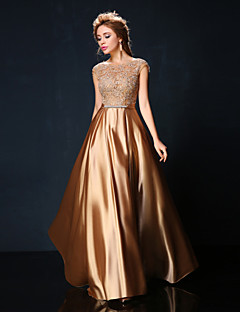 Formal Evening Dress - Ruby/Burgundy/Champagne A-line Jewel Floor-length Lace/Charmeuse