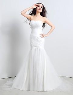 Sellő fazon Menyasszonyi ruha Seprő uszály Pánt nélküli Tüll val vel