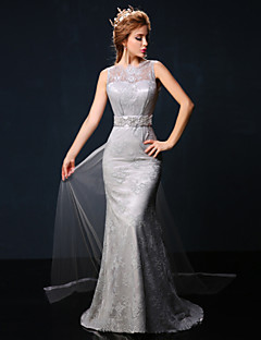 Formal Evening Dress - Gray Trumpet/Mermaid Jewel Court Train Lace/Tulle