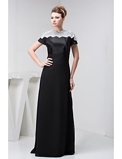 A-line Petite Mother of the Bride Dress - Black Floor-length Short Sleeve Lace / Satin