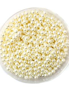 beadia 58g (ca 2000pcs) 4mm runde abs perle perler elfenben farve plastikkugler