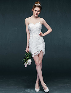 Sheath / Column Wedding Dress Short / Mini Sweetheart Lace with