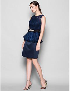 Vestito da damigella - Blu marino scuro Tubino Decorato Cocktail Pizzo/Raso