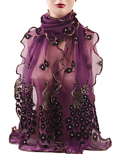 Women's Wonderful Chiffon Peacock Wrap Shawl Long Soft Scarf