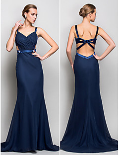 Formal Evening/Military Ball Dress - Dark Navy Plus Sizes Trumpet/Mermaid Straps Sweep/Brush Train Chiffon