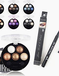 1stk vandtæt flydende eyeliner pen&1stk lyse stereo 5 farver ubub stege øjenskygge pulver metallisk shimmer