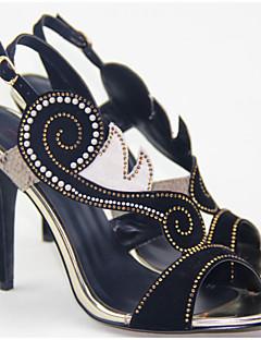 Chaussures Femme Laine synthétique Talon Cône Bout Ouvert/Bout Arrondi Sandales Mariage/Habillé/Soirée & Evénement Noir