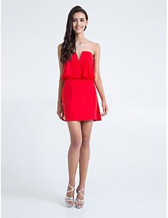 retour à court / mini robe en mousseline de demoiselle d'honneur - rubis gaine / colonne bretelles