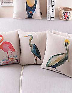 conjunto de 3 padrão colorido pássaro algodão / linho fronha decorativo