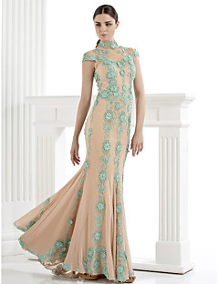 TS Couture Formal Evening Dress - Trumpet/Mermaid High Neck Sweep/Brush Train Tulle