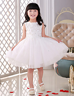 פרח שמלת ילדה נסיכה - סקופ - באורך ברך (תחרה/טול)