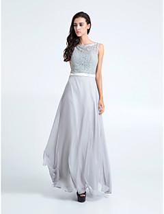 신부 들러리 드레스 - 그레이 시스/컬럼 바닥 길이 바토 쉬폰/레이스