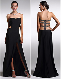 Formal Evening Dress - Black Plus Sizes / Petite Sheath/Column Strapless Floor-length Knit