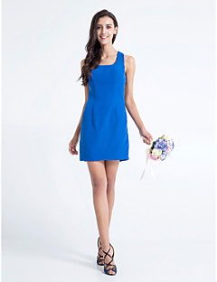 Lanting Bride® Short / Mini Chiffon Bridesmaid Dress - Sheath / Column Square Plus Size / Petite with