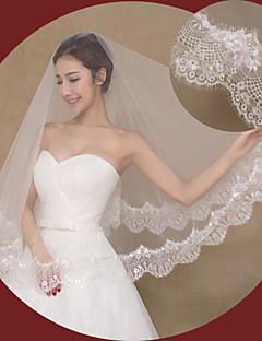 One-tier - Lace Applique Edge - Angel cut/Waterfall - Fingertip Veils ( Ivory , Embroidery )