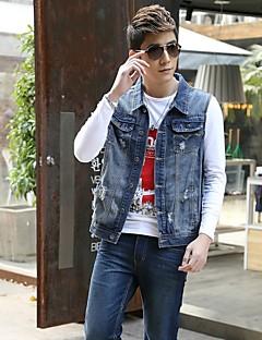 Men's Fashion Casual Solid Blue Sleeveless Jacket, Regular Denim / Jean Wear  Fashion Blue Color All Seasons Men's Fashion Wear