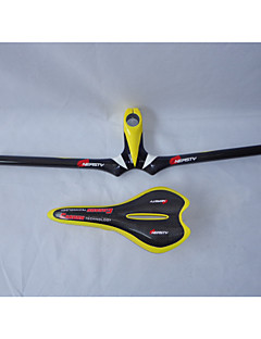 HB14+SA10 Neasty Brand Full Carbon Fiber Mtb Bike Stem Handlebar and Saddle Yellow Color 3k Weave