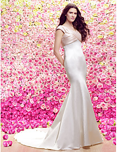 Lanting Trumpet/Mermaid Wedding Dress Sweep/Brush Train V-neck Stretch Satin