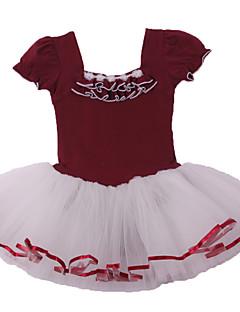 Balé Vestidos Crianças Actuação Algodão / Elastano Renda / Franzido 1 Peça Manga Curta VestidosM:45cm,L: 47cm ,XL:50cm ,XXL:52cm,XXXL