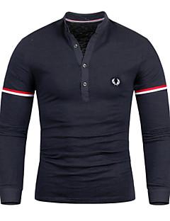Men's Long Sleeve Polo , Cotton Blend Casual
