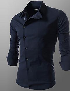 Langærmet Herre Ensfarvet Afslappet/Hverdag Arbejde Formelle Plusstørrelser Skjorte,Bomuld Polyester