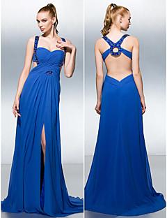Fiesta formal Vestido - Azul Real Corte A Cola Corte - Tirantes Georgette
