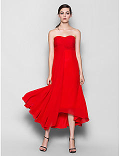 Lanting Bride® Asymmetrical Chiffon Bridesmaid Dress - A-line Sweetheart Plus Size / Petite with Criss Cross