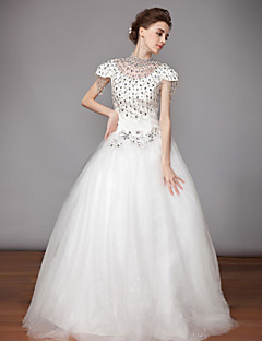 Ball Gown High Neck Tea-length Wedding Dress (Chiffon/Organza)