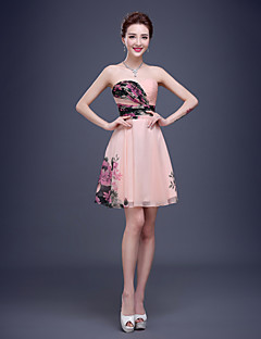 Women's Lace Up A-Line Floral Print Strapless Above Knee Formal Evening Bridesmaid Mini Dress