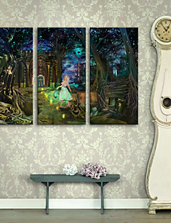 E-HOME® Stretched LED Canvas Print Art The Night of The Girl In The Forest LED Flashing Optical Fiber Print Set of 3