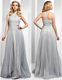 Formal Evening Dress - Silver Plus Sizes A-line/Princess High Neck Floor-length Organza