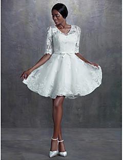 A-line/Princess Wedding Dress - Ivory Knee-length V-neck Lace