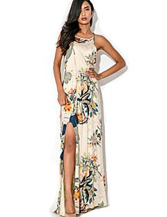 Women's Sexy Print Cute Maxi Plus Sizes Micro Elastic Sleeveless Maxi Dress (Microfiber)