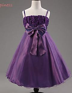 Girl's Summer/Spring/Fall Micro-elastic Medium Sleeveless Dresses (Cotton Blends/Organza/Polyester/Satin)
