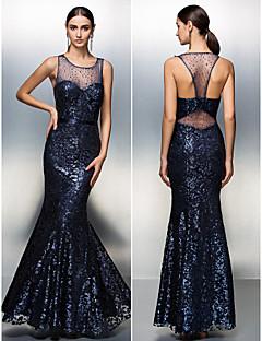 Prom/Formal Evening Dress - Dark Navy A-line Jewel Floor-length Sequined