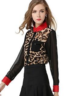 여성의 애니멀 프린트 / 컬러 블럭 스탠드 긴 소매 셔츠 쉬폰